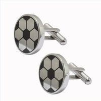Sports Fans Football Stainless Steel Men Cuff Links