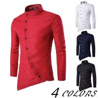 Men Oblique Placket Personality Long - Sleeved Shirt