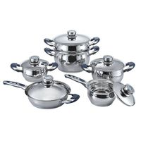 11 pcs wide edge stainless steel pot, belly shape