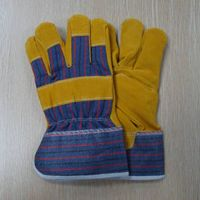"""Men's Golden Yellow 10.5"""" Pig Split Leather with Cotton Safety Working Gloves thumbnail image"""