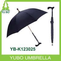 black color safe walking stick umbrella cane umbrella for old people