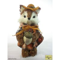 Brown grass fox with acorn in hand decoration