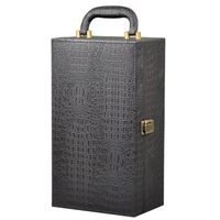 2 Bottle Alligator Pattern PU Leather Wine Box