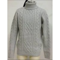 cable knit high collar pullover