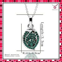 Fashionalbe green crystal leaf shape pendant necklaces,statement necklaces,hand stamped jewelry