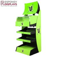 Floor Green Beverage Metal Display Shelf with Locking Slots Thoughout