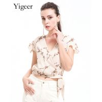 Short Sleeve Wrap Casual Floral Printed Ladies' Blouse Top thumbnail image