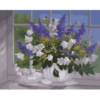 Framed or Frameless paint by numbers kits painting on canvas Flowers Wind