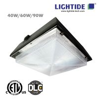 DLC Premium LED Gas Station Light w/Emergency Back, 90W, 100-277VAC, 90 min Emergency Time