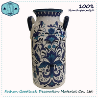 China Supplier Hand Made Blue And White Decorative Modern Tall Slim Vase