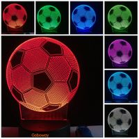 3D Football Soccer Illusion 7 Color Change USB Touch LED Light Night Desk Lamp commemorate gift