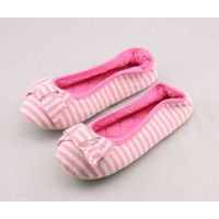Kids striped jersey bow heel elastic ballerina slippers
