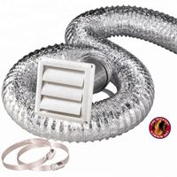 HVAC Systems Parts Flexible Hose Kit 4'' 8 Ft Aluminum Duct,Vent Cover, Wall Pipe, Clamps Set thumbnail image