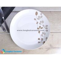 10.5'' grass leaves handprinted ceramic round plate thumbnail image