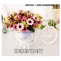 Rattan plaited bicycle artificial flower thumbnail image
