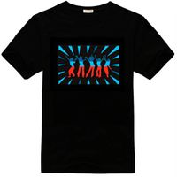 2016 good quality 100% cotton led light up and down music t shirt