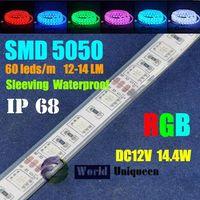 Wholesale DC12V 14.4W 12-14LM 60leds/m RGB IP68 Sleeving Waterproof SMD5050 LED Strip Light