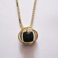Silver Jewelry 11mm Black Onyx Pendant with Chain in Gold Plated (N-033) thumbnail image