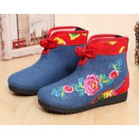 Girl winter and autumn cotton shoes ethnic style thermal warm comfortable ankle boots red embroidere