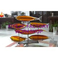 modern hand blown hotel villa lobby interior hall amber glass show pieces fish combination figurines