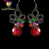 European fashion earring 2017 silver plated colorful bead red teardrop rhinestone handmade earrings