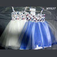Floral dresses kids wear bridesmaid dresses flower girls western dress designs with elastic thumbnail image