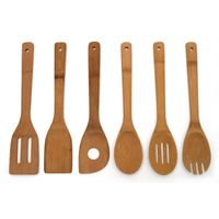 China Long Handle Bamboo Wooden Kitchen Utensil Cookware Gift Spatula and Spoon Set thumbnail image