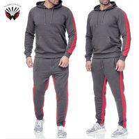 High Quality Fleece Sportswear Custom Men 100% cotton Slim Fit Plain Tracksuit Sweat suits thumbnail image