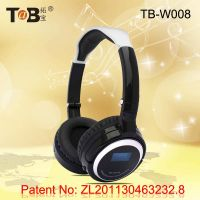 wireless adjustable TF card  FM Radio headphones headsets with LED indicator rechargeable battery