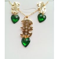 Fashion green heart-shaped zircon I LOVE YOU clavicle necklace earrings set wholesale stainless