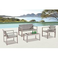 Outdoor furniture brushed aluminum PE thick wicker patio sofa set with cushion SF010