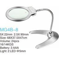 Desktop Metal Illuminated Magnifier with 2 LED Light