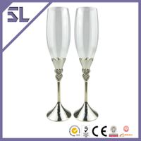 Double heart silver plated champagne flutes wedding gifts for bride and groom