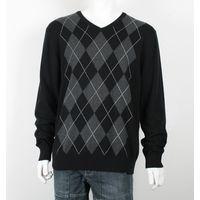 Mens V Shape Neck Intarsia Sweater thumbnail image