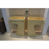 Yellow Marble Pedestal Sink,Bathroom Sink,Bath Basin