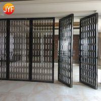 PVD gold hairline polished stainless steel room divider