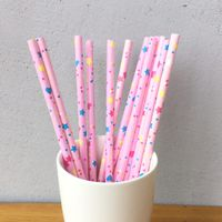 Pink Star Pattern Decorative Paper Straws thumbnail image