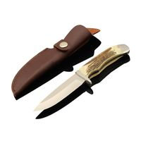 bonning handle hunting knife with leather sheath