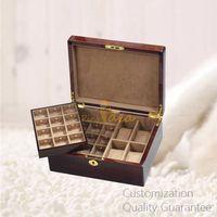 Luxury Good Quality High Gloss Burlwood Men's Gadgets Accessories Jewelry Watch Organizer Box