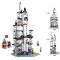 Space Rocket Lunar Exploration Lander Assembled Building Blocks Kids Toys for Boys