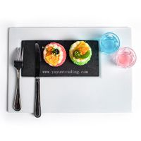 Black Slate Stone Food Place Mat and Table Runner Tableware for Restuarant and Hotel