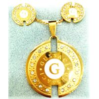 Wholesale round Jewelry special three color pendant Earrings Party Wedding Rhinestone 18k Gold plate