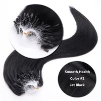 "Micro Ring Hair Extensions Jet Black Loop Hair 18"" 20"" 22"" 24"" Real Human Hair Extensions 0.5g/s thumbnail image"