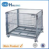 Heavy duty stackable wire container storage cage wire mesh container
