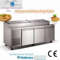 stainless steel pizza refrigerated table