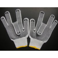 10G bleached poly cotton safety dots glove