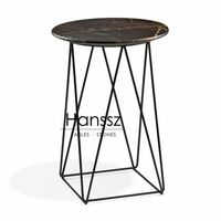 Black metal frame black round marble side tables