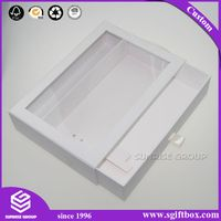 White Color Cardboard Drawer Packaging Gift Display Box with Gold Handle thumbnail image