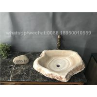 Yellow Onyx Bathroom Random Shape Wash Basin Stone Sinks