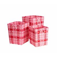 Pink square storage basket three-piece suit